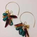 MKA017 Earrings 14K gold fill hand shaped earring wires Cluster of turquoise, amber and ceramic beads dipped in 22K gold $235