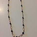 "MKA025 Necklace 28"" length 14K gold fill fancy Italian chain spaced with extra small black onyx beads $140"