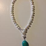 MKA032 Lariat Style Necklace Potato shaped white pearls, loop made with clear Swarovski crystals, lage turquoise stone $290