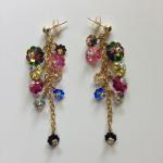 "Earrings: 14K gold post  2"" long Mixture of multicolor cluster of Swarovski crystals     $127"