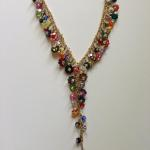 "Necklace-16"" with 2"" extension 14Kgold fill chain multicolor mixture of flower shape Swarovski crystals  3"" pendant: cascade of flower shape Swarovski crystals     $595"