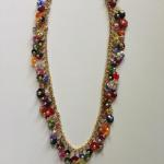 "Necklace- 16"" with 2"" extension, 14K gold fill chain multicolor mixture of flower shape Swarovski crystals     $426"