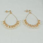MKA3623 Custom hand shaped single hoop earring with wire wrapped white pearls, 14K gold posts $130