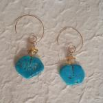 MKA085 Earrings of 14K Gold filled hand formed wire with Sleeping Beauty Turquoise and 22 K gold dipped bead $124