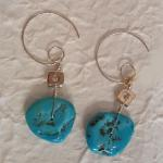 MKA120 Sterling Silver hand formed wire earrings with beads dipped in sterling silver with Sleeping Beauty turquoise $140