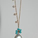 MKA050 Necklace with gf chine accented with pearls with a coin pearl drop with turquoise $181