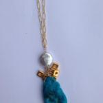 MKA060 GF chain with pearl, 22K dipped beads and Sleeping Beauty turquoise drop $320