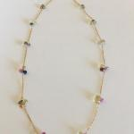 "MKA306 18"" Necklace with 2"" extension, 14K gold fill chain with wired wrapped clusters of multi-color sapphires  $737.00"