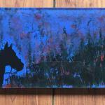 Cowboy In Dark Blue Hostess Tray Acrylic with Reverse Painting $135
