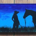 Cowgirl in Blue Hostess Tray Acrylic $135