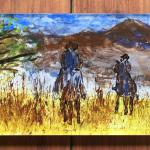 Trailride Hostess Tray Acrylic with Reverse Painting $135