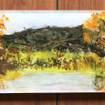 Autumn Trees & Pond Hostess Tray Acrylic with Reverse Painting $135
