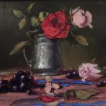 Rose and Silver Goblet 12 X 16  Oil  1350 SOLD