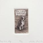 "Buy One Dog, Get One Flea Limited Edition Etching, Watercolor 3.5"" x 3"" printed size $40"