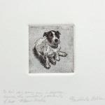"To His Dog, Every Man Is Napoleon Limited Edition Etching, Watercolor 4"" x 4"" Print Image $40"