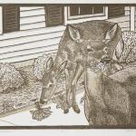 Moonlight Gardners Limited edition reduction linocut $65