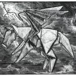 Pegasus Navigating Through the Storms of Life Limited Edition Wood Engraving $45