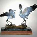 "Prairie Dancers Bronze Sandhill Cranes 12""h x 16.5""l x 12""w  $2300 Available by order only."