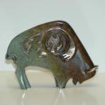 "Bison Fetish Bronze Bison #73 Pearlized Rust/Peach 5.5"" L x 4"" H x 1.25"" W  $550.00"