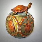 "Longevity Bronze Turtle Vessel Edition 30 4.75""h x 3.5"" diameter  $1500.00 Available by Order only"