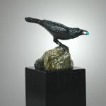 "New Found Treasures Bronze Raven with Turquoise #10 4.5"" H x 5"" L x 5"" W  $650.00"