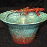 "Swift and Sleek Bronze Bowl with Lizard #3/50 3""h x 5.5"" diameter  $700.00"