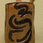 Asian Mystery Honey Pot Includes hand carved wood dipper 7 1/2 H x 4W x 4D Clay $150