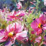 Cosmos in My Garde 12 x 16 Oil $965