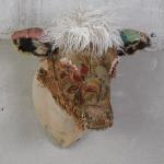 "Beauty :Large Cow Head Antique Bark Cloth,  antique needlepoint, Velvet, Faux Fur and Studs 39""H x 27"" W x 26""D 20 Lbs.  $3500"