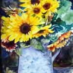 Sunflowers  14 x 11 Watercolor on Claybord $75