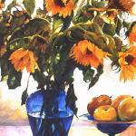 Sunflowers in Blue Vase 40 x 30 Watercolor on Aquabord $3000