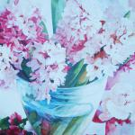 Pink Hyacinths 40 x 30 Watercolor on Aquabord $2500